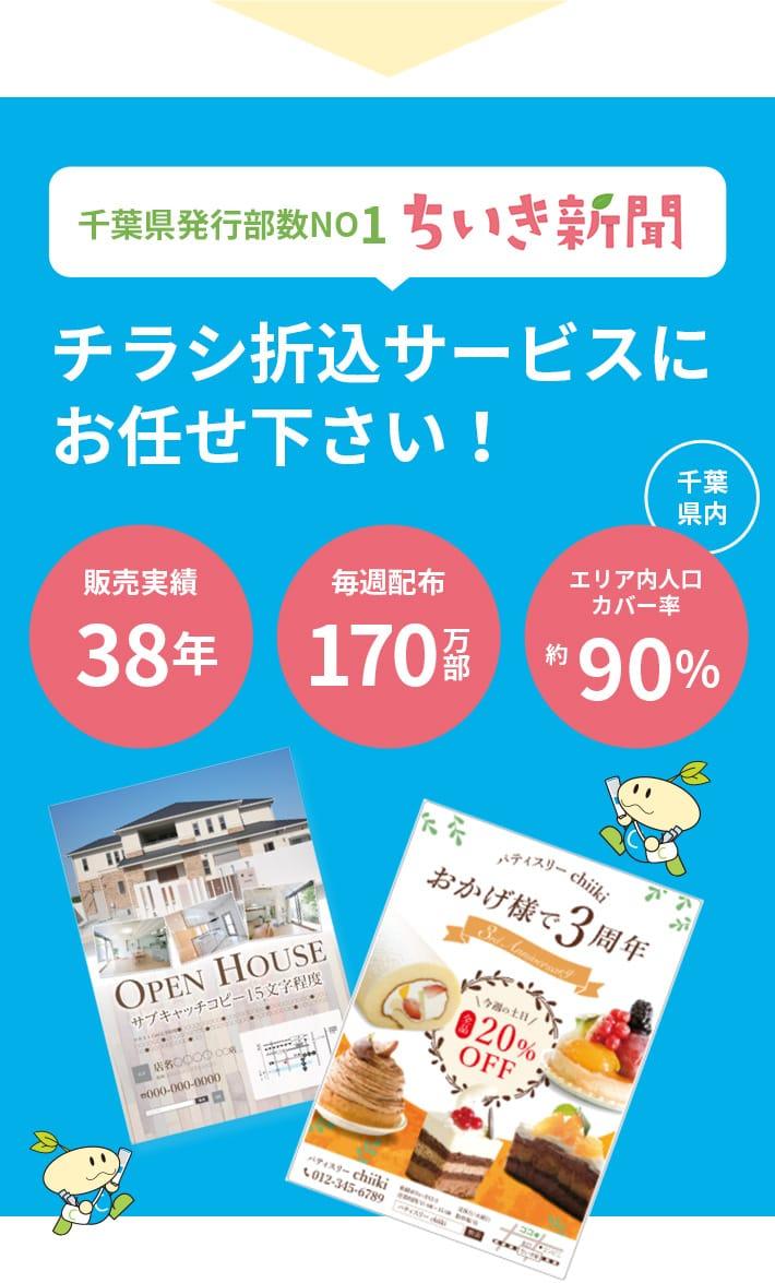 千葉県発行部数NO1 ちいき新聞 チラシ折込サービスにお任せください! 千葉県内 販売実績37年 毎週配布170万部 エリア内人口カバー率約90%