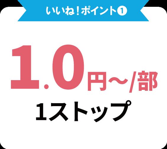 いいね!ポイント①部数単価1.0円~安心価格!しかも広告作成から配布まで1ストップで実現!